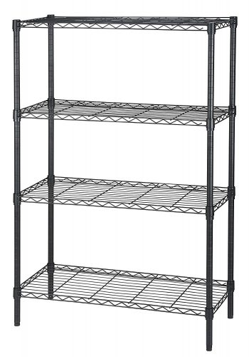 Finnhomy Heavy Duty 4-Tier Wire Shelving unit Thicken Pole Adjustable 4-Shelf Steel Wire Shelving Rack Storage Rack Black - collapsible storage rack