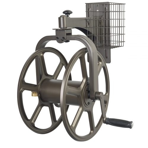 Liberty Garden Products 712 Single Arm Navigator Multi-Directional Garden Hose Reel, Holds 125-Feet of 5/8-Inch Hose - Bronze - Hose Reels
