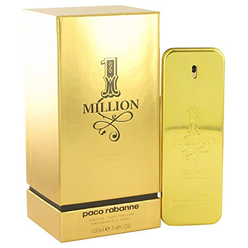 Million Absolutely Gold by Paco Rabanne Pure Perfume Spray 3.3 oz for Men - Men's Lasting Perfumes