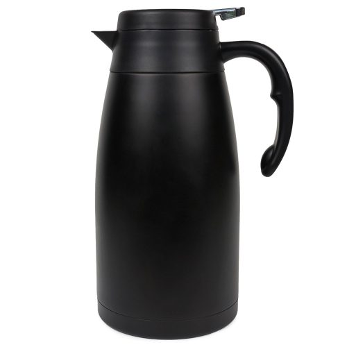 Thermal Carafe - Large Stainless Steel Coffee thermos with insulated vacuum for hot and cold brew - Black pitcher with lid and easy non-drip press to serve - good for travel - 2L/68oz - Oku+Char - Thermal Carafes