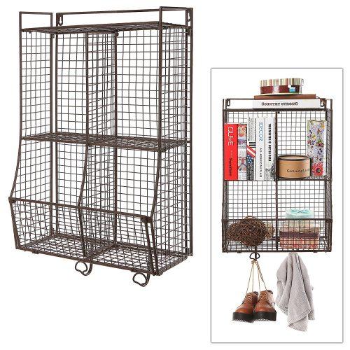 Wall Mounted / Collapsible Brown Metal Wire Mesh Storage Basket Shelf Organizer Rack w/ 2 Hanging Hooks - collapsible storage rack
