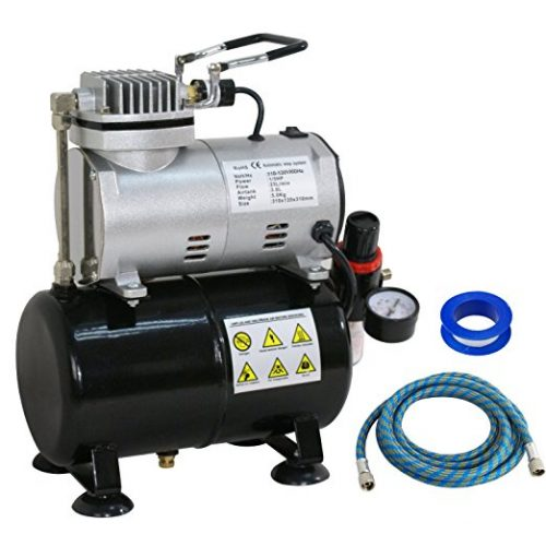 ZENY Pro 1/5 HP Airbrush Air Compressor Kit w/ 3L Tank & 6FT Hose Multipurpose for Hobby Paint Cake Tattoo - Airbrush Compressors