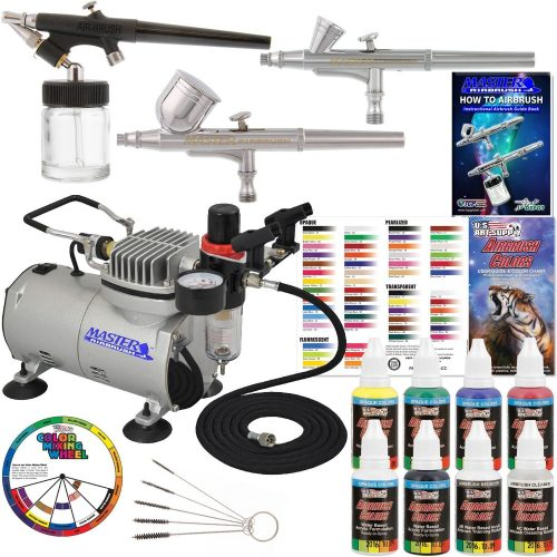 Master Airbrush Professional 3 Airbrush System withCompressor and 6 Color Primary Paint Set