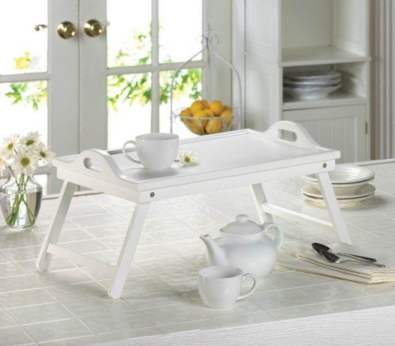 White Chic Folding Shabby Lap Desk Table Laptop Tray Books Breakfast Bed Serving