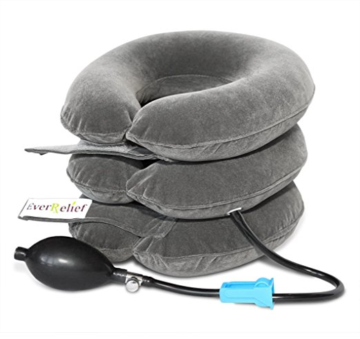EverRelief® Cervical Neck Traction Device FDA Registered ✮ Inflatable & Adjustable Neck Stretcher Collar for Home Traction Spine Alignment
