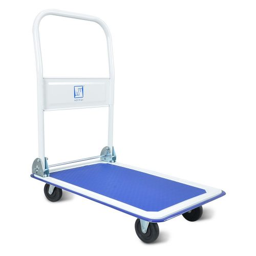 Push Cart Dolly by Wellmax | Functional moving platform + hand truck | Foldable for easy storage + 360-degree swivel wheels + 330lb weight capacity | Blue color