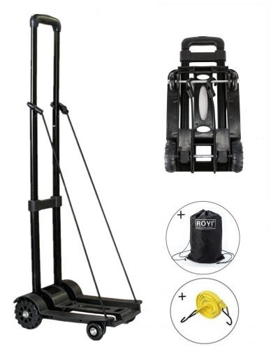 Folding Hand Truck, 70 Kg/155 lbs Heavy Duty 4-Wheel Solid Construction Utility Cart Compact and Lightweight for Luggage, Personal, Travel, Auto, Moving and Office Use - Portable Fold-Up Dolly by ROYI-hand truck