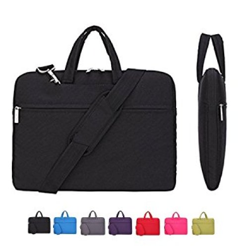 CROMI Laptop Case, Laptop Shoulder Bag, Simplicity Slim Briefcase Commuter Bag Business Sleeve Carrying Handle Bag Nylon Waterproof Notebook Shoulder Messenger Bag