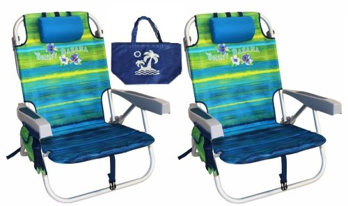 Tommy Bahama Backpack Beach Chairs with One Medium Tote Bag - Pack of 2 - Green