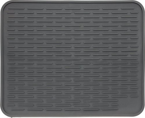 "XXL Super-Size Silicone Dish Drying Mat 24"" x 18"" - Large Drainer Mat and Trivet by LISH(Slate Grey)"