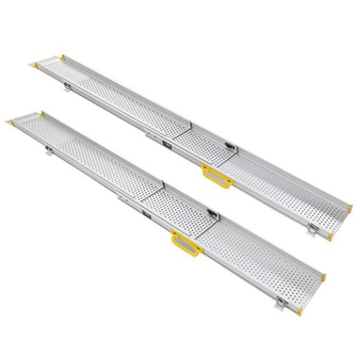 Ruedamann 10' Aluminum Adjustable Portable Telescoping Track Ramps Lightweight Retractable Wheelchair Ramp, Sold in Pairs, 6.5 Inch Inside Width 10 ft (MR107T-10) - wheelchair ramp