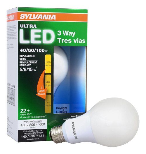 SYLVANIA ULTRA 3-WAY LED Light Bulb 40/60/100W Replacement, Daylight 5000K, 25,000-hour life - A21, Medium Base, 74086 - Energy Star (4.5/8.5/15W)