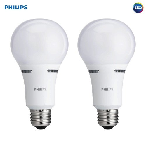 Philips 459180 LED 3-Way A21 Frosted Light Bulb: 1600-800-450-Lumen, 2700-Kelvin, 18-8-5-Watt (100-60-40-Watt Equivalent), E26D Base, Warm White, 2-Pack