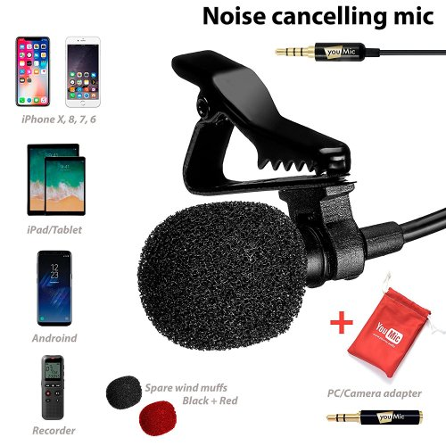 Lavalier Lapel Microphone with Easy Clip-On System [Perfect for Recording YoutubeVlog Interview/Podcast