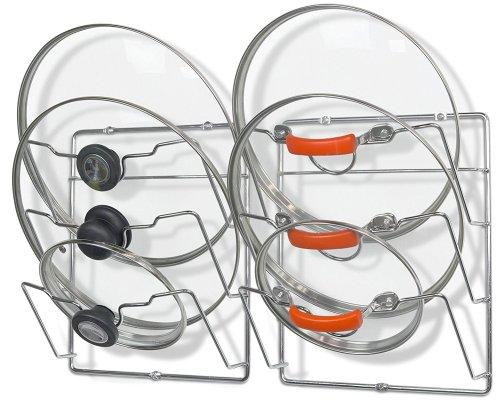 2 Pack - SimpleHouseware Cabinet Door / Wall Mount Pot Lid Organizer Rack, Chrome