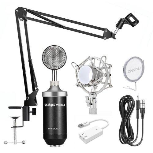 ZINGYOU BM-800 Professional Studio Condenser Microphone Set-Black