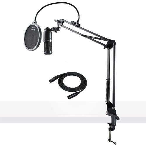 Audio-Technica AT2020 Condenser Studio Microphone with XLR Cable Knox Studio Stand and Pop Filter