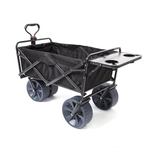 Mac Sports Heavy Duty Collapsible Folding [All Terrain Wagon] Beach Cart-Black with Table