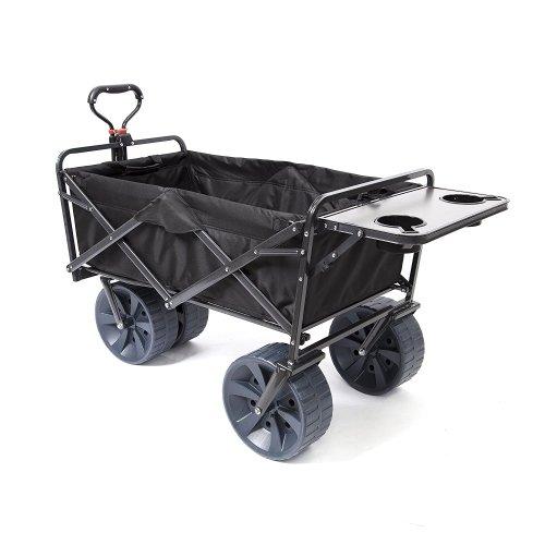 Mac Sports Heavy Duty Collapsible Folding [All Terrain Wagon] Beach Cart-Black with Table