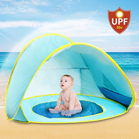Hippo Creation UV Protection Baby Beach Tent with Pool Pop-up Sun Canopy Shelter & Top 10 Beach Infant tent in 2019 - Highly Recommend