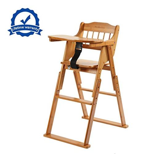 Wooden Folding Baby High Chair With Tray Adjustable Bamboo Height Chair - Wooden high chair