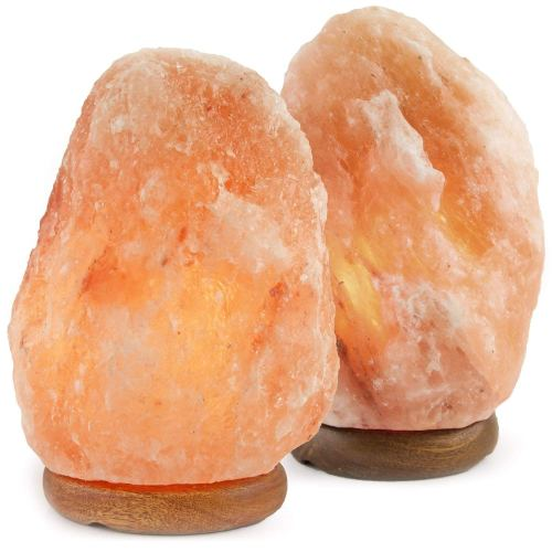 "Crystal Allies Gallery CA SLS-S-2pc Crystal Allies: Set of 2 Natural 5-8 lbs Himalayan Salt Lamp with Dimmable Switch and 6' UL-Listed Cord, 4"" x 4"" x 6"""