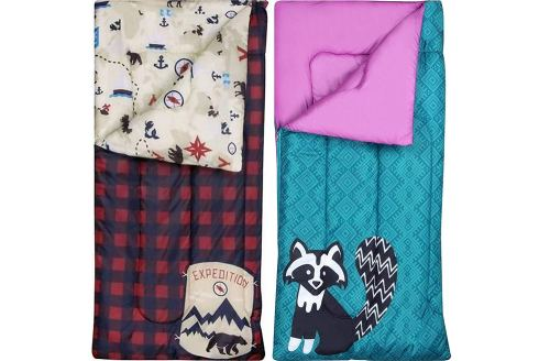 2-Pack - Ozark-Trail Kids Sleeping Bag Camping Indoor Outoor Traveling (Raccoon / Bear) (2-Pack) - Sleeping bags for kids