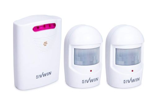 4VWIN Home Security Driveway Alarm 1 Receiver and 2 PIR Motion Sensor Detector Alert System Kit