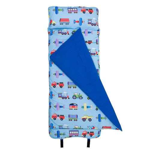 Original NapMat Olive Kids by Wildkin Children's Original NapMat with Built in Blanket and Pillowcase Pillow Insert Included Premium Cotton and Microfiber Blend Ages 3-7 years Train Planes and Trucks