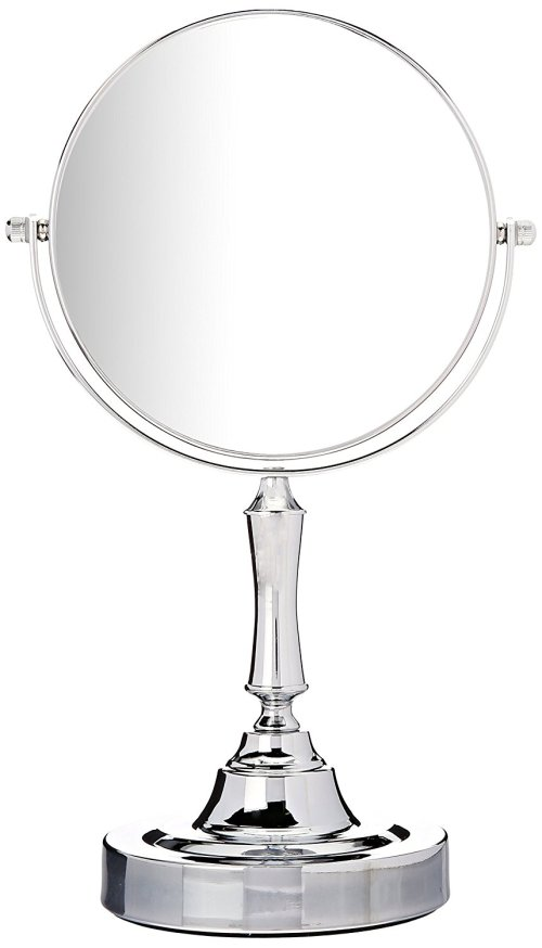 Sagler Vanity Mirror Chrome 6-inch Tabletop Two-Sided Swivel with 10x Magnification, makeup mirror 11-inch Height, Chrome Finish