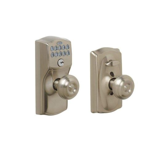 Schlage FE595 CAM 619 GEO Camelot Keypad Entry with Flex- Lock and Georgian Style Knobs, Satin Nickel