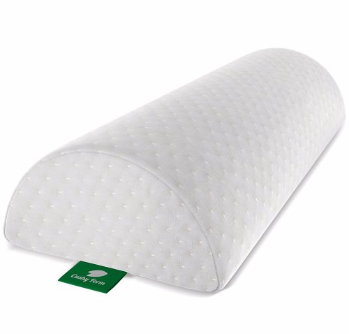 Cushy form back pain relief half-moon bolster/wedge – provides best support for sleeping on side or back – memory foam semi-roll leg/knee pillow with washable organic cotton cover (large, white)