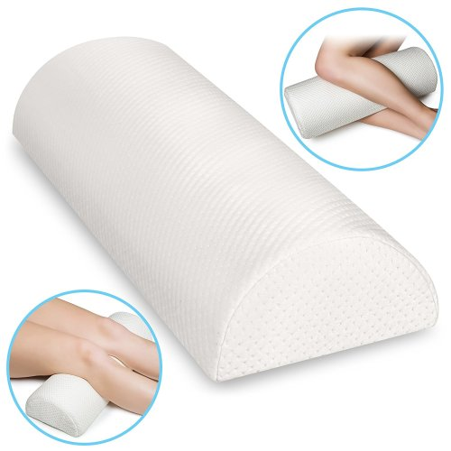 Back pain relief memory foam pillow- half moon bolster knee pillow for side, back, stomach sleepers-semi roll wedge reduce knee, neck, spine, back, hip, ankle stress – washable organic cotton cover