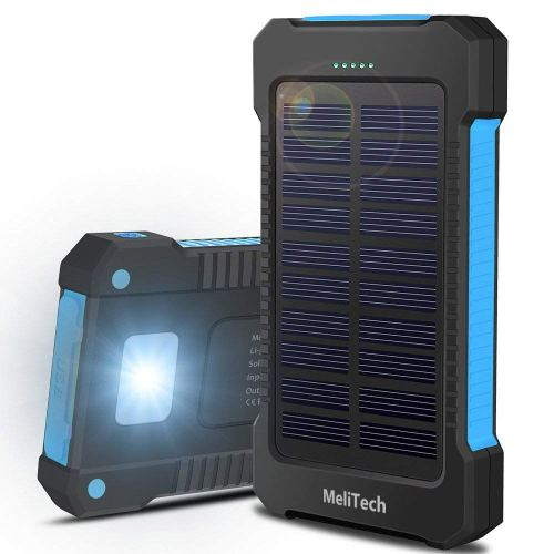 MeliTech Portable Solar Charger Waterproof Mobile Power Bank 20000mAh External Backup Battery Dual USB 5V 1A/2A Output With LED Flashlight and Compass For Phones Tablet Camera iPhone Samsung (Blue)