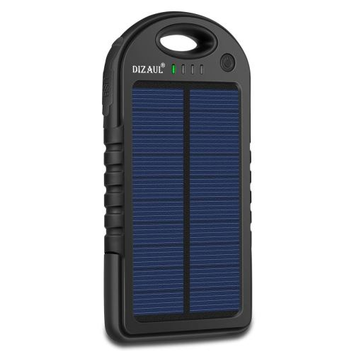 Solar Charger, Dizaul 5000mAh Portable Solar Power Bank Waterproof/Shockproof/Dustproof Dual USB Battery Bank for cell phone,iPhone, Samsung, Android phones, Windows phones, GoPro Camera, GPS and More