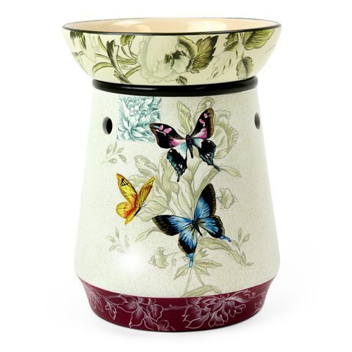 Original Candle Warmer - Electric 2-in-1 Fragrance Air Freshener - 2 Piece Ceramic Melt Tart Wax Cube Melter - Essential Oil Aroma Burner - Eliminate Odors - Butterfly Pattern