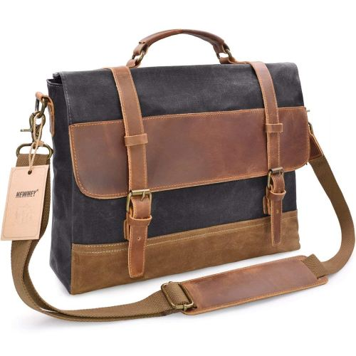 NEWHEY men's messenger bag waterproof canvas leather computer laptop bag 15.6-inch briefcase vintage retro waxed canvas genuine leather large satchel shoulder bag college grey