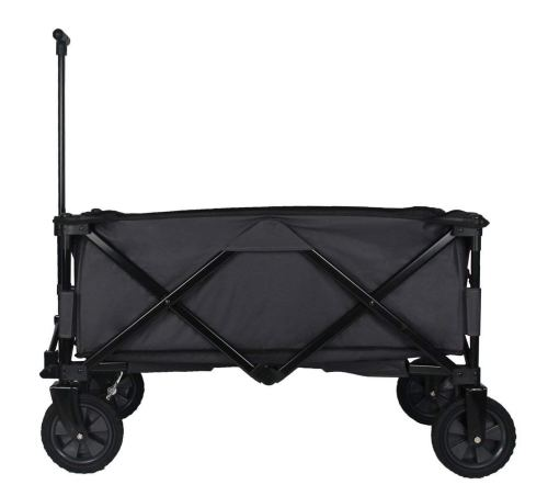 Patio Watcher Heavy Duty Collapsible Folding Garden Cart Utility Wagon for Shopping Outdoors, Gray