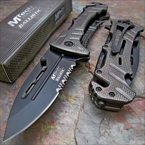 "Mtech Ballistic 8"" Bottle Opener Rescue Blade Pocket Knife"