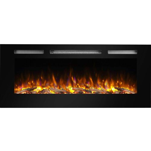 "PuraFlame Alice 48"" Recessed Electric Fireplace - Wall Mounted Electric Heater"
