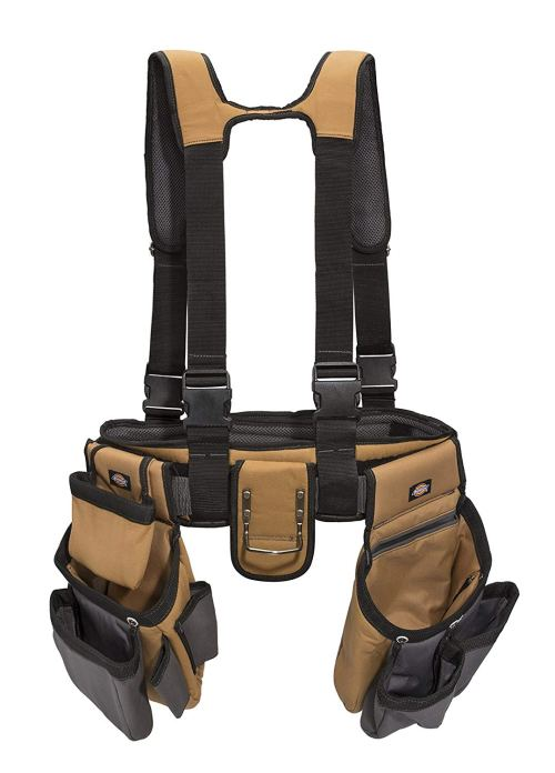 Dickies Work Gear – 4-Piece Carpenter's Rig – 57023 – Tool Belt Suspenders – Cooling Mesh – Padded Suspenders – Steel Buckle – Leather Tool Belt – Grey/Tan – 3.8 lb.