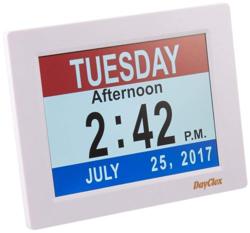 DayClox Memory Loss Digital Calendar 5-Cycle Clock with Red White & Blue or Black & White Section Display - Calendar Clocks