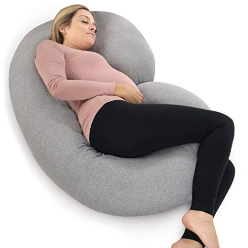 PharMeDoc Pregnancy Pillow with Jersey Cover, C Shaped Full Body Pillow