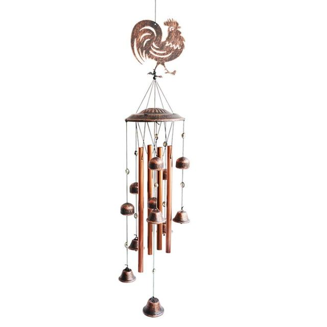 BLESSEDLAND Metal Rooster Wind Chimes