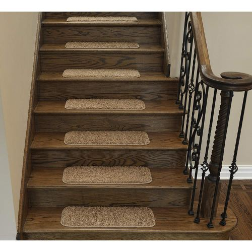 "Ottomanson CST6001-14Pack Comfort Collection Soft Solid (Non-Slip) Shag Carpet Stair Treads, 9"" x 26"", Camel"