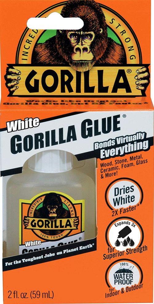 Gorilla White Glue, Waterproof, 2 ounce Bottle, White, (Pack of 1)