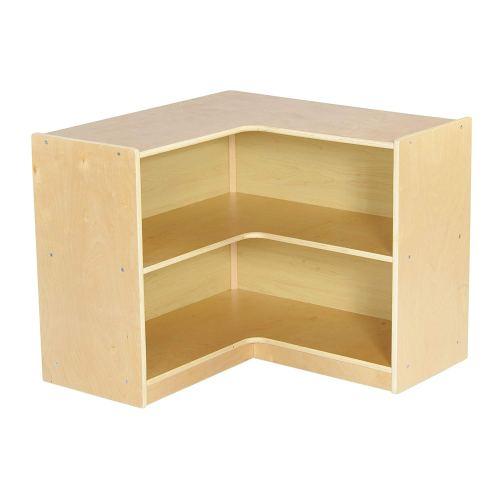 "ECR4Kids Birch Corner Classroom Storage Cabinet with Casters, Natural, 24"" H"