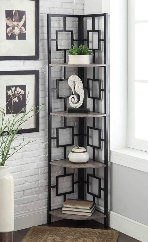 Weathered Grey Oak Finish Black Metal Wall Corner 4-Tier Bookshelf Bookcase