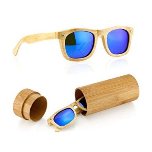 Polarized Bamboo lightweight Wood Wayfarer Vintage Sunglasses Men Women Eyewear