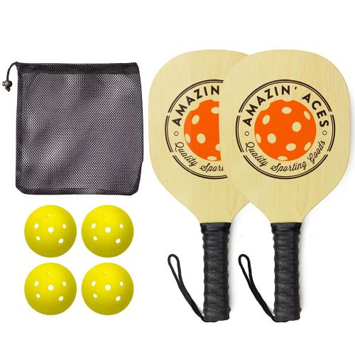 Amazin' Aces Pickleball Paddles | Gift Ready Box | Set Includes 2 Wood Pickleball Paddles + 4 Pickleballs + 1 Mesh Carry Bag | Great Rackets for Beginners | Pickleball Paddle Set Includes eBook